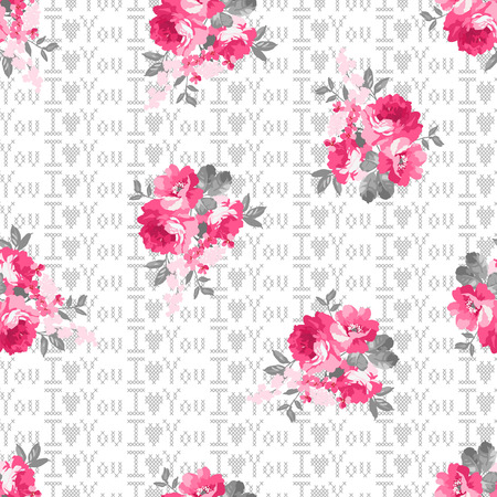 cross stitch: Seamless pattern with pink roses and cross-stitch background.