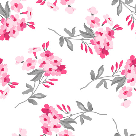 red flower: Seamless floral pattern with pink flowers