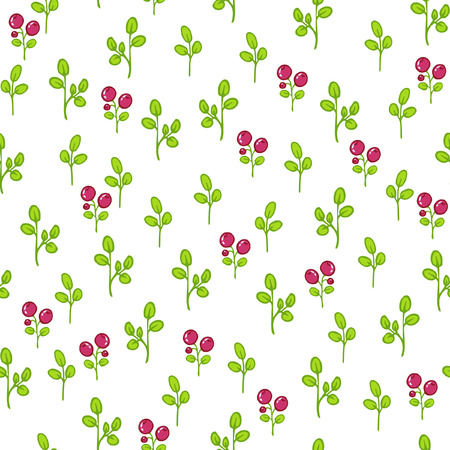 cranberries: Seamless floral pattern with cranberries Illustration