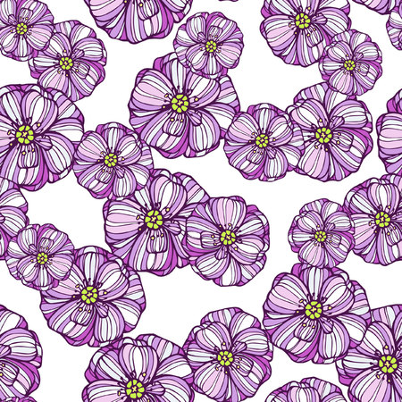 poppy flowers: Seamless floral pattern with pink poppy flowers
