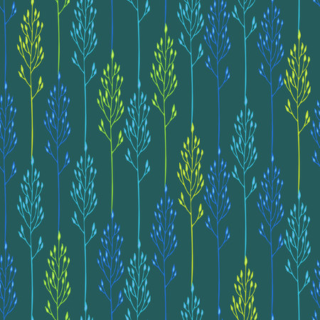 spikelets: Seamless floral pattern with spikelets on the blue background