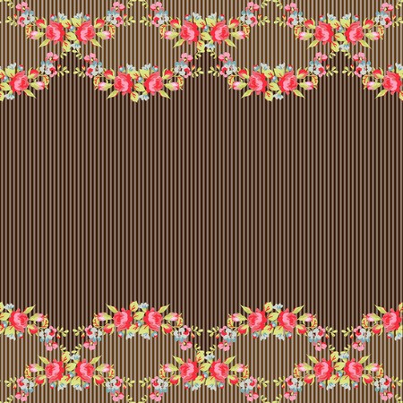 red rose bouquet: Vintage Seamless Pattern with red roses on a background with stripes Illustration
