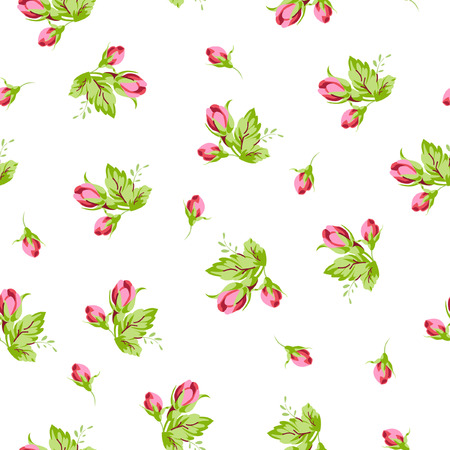 buds: Seamless floral pattern with small buds rose Illustration