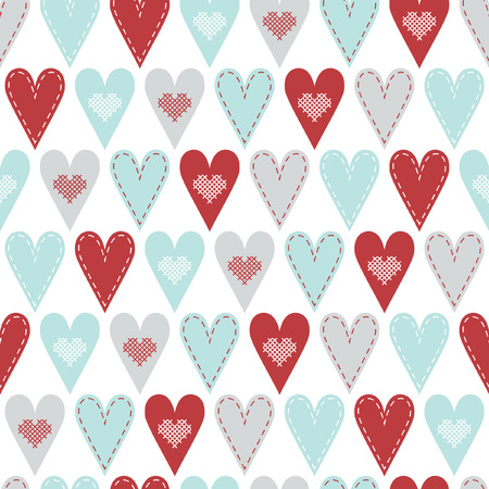 hart: Seamless pattern with red and pastel hart