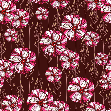 poppy flowers: Seamless floral pattern with poppy flowers Illustration