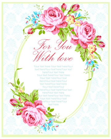 rosas rosadas: Wedding invitation card template with garden pink roses and forget-me