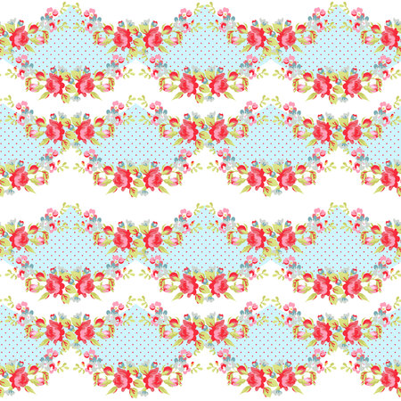 red rose bouquet: Seamless Pattern with red roses on a background with red polka dots