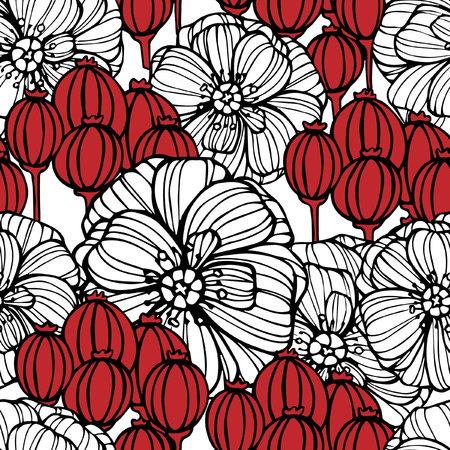 poppy flowers: Seamless pattern with white poppy flowers and red poppy boxes