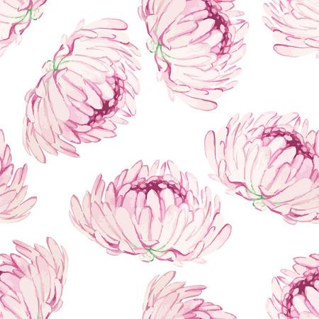 Watercolor seamless pattern with pink chrysanthemum