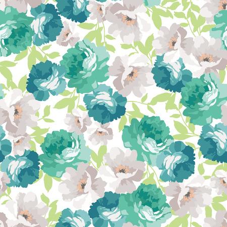 Naadloos bloemenpatroon met blauwe rozen Stock Illustratie