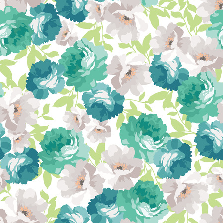 Seamless floral pattern with blue roses Çizim