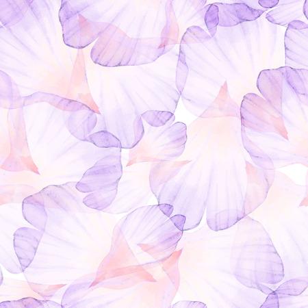 水彩のシームレスなパターン。ピンクの花の花弁。
