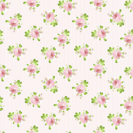 shabby: Seamless floral pattern with pastel pink rose.