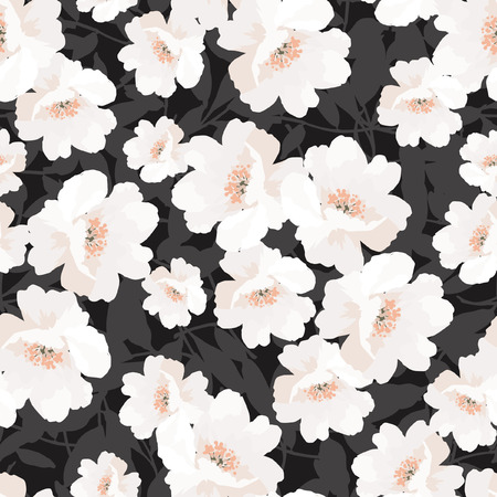Elegance Seamless pattern with flowers rosehip on black background, vector floral illustration Ilustração