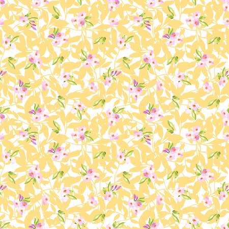 pink flowers: Seamless Pattern with little pink flowers on yellowfloral pattern Illustration