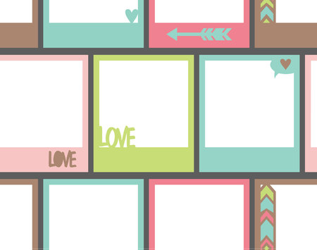 picture frame: Seamless pattern  with photo frame, St.Valentines Day photo frame with hearts, arrow, love