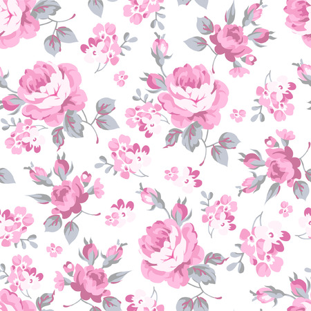 roses petals: Seamless floral pattern with pink rose and grey leaves Illustration