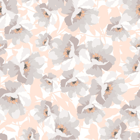 pastels: Elegance Seamless pattern with flowers roses, vector floral illustration, rosehip