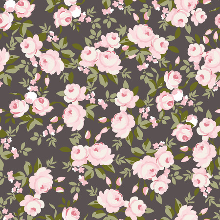 retro flowers: Seamless floral pattern with little pink roses, vector illustration in vintage style. Illustration