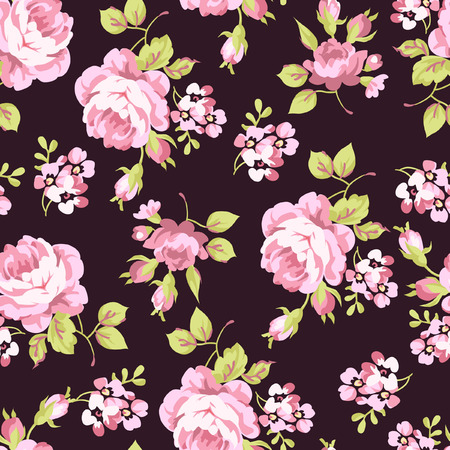 rosas negras: Patrón floral sin fisuras con pequeñas rosas de color rosa, sobre fondo negro