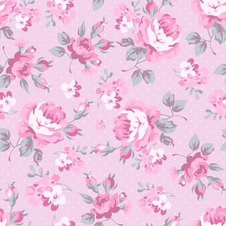핑크 원활한 플로랄 패턴 장미와 회색 잎