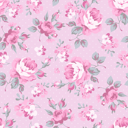 Seamless floral pattern with pink rose and grey leaves Vettoriali
