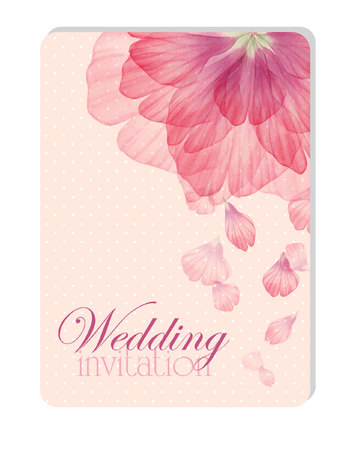 Floral wedding invitation with Watercolor flower petals