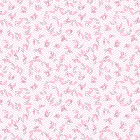 잎과 갈매기와 원활한 핑크 꽃 패턴