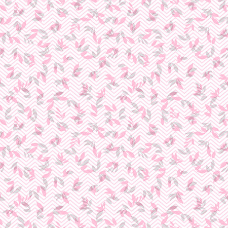 Seamless pink floral pattern with leaves and chevron