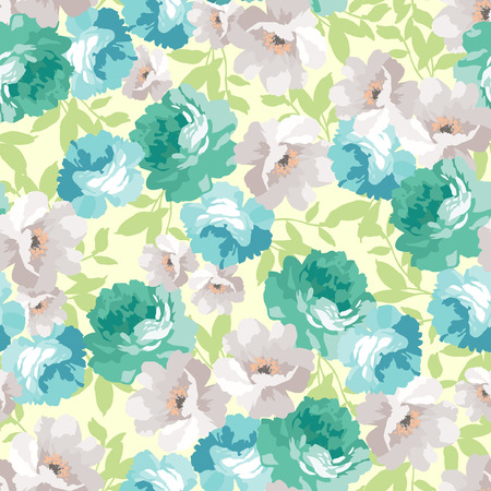 green flowers: Seamless floral pattern with blue roses Illustration