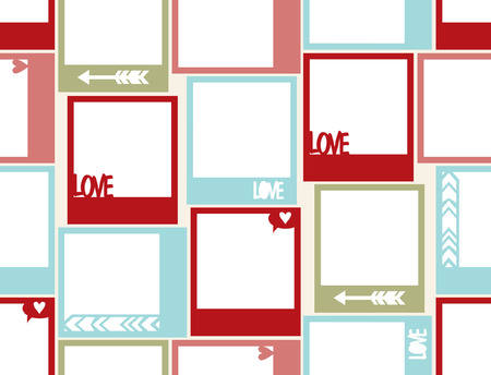 yellowed: Seamless pattern  with photo frame, St.Valentines Day photo frame with hearts, arrow, love