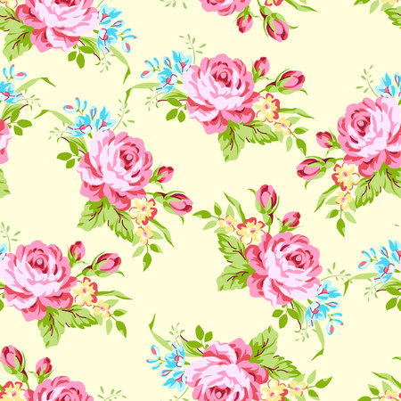 blue roses: Seamless floral pattern with garden pink roses and forget-me Illustration