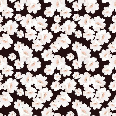 rosas blancas: Elegancia sin fisuras patrón con flores de rosa mosqueta en el fondo negro, ilustración vectorial florales