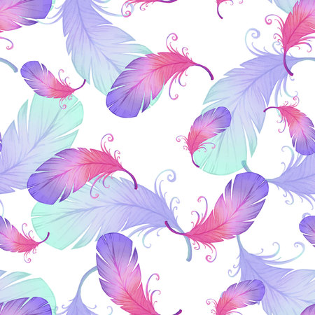 bird feathers: Watercolor seamless pattern with bird feathers. Illustration