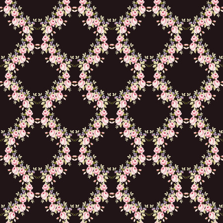 Seamless floral pattern with little pink roses, on black background