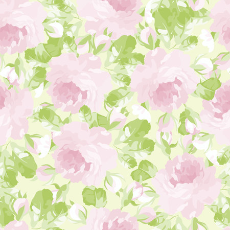 Seamless floral pattern with pastel pink rose.