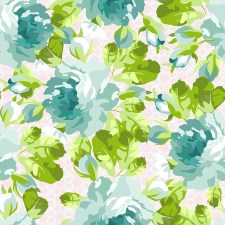 Seamless floral pattern with blue rose Illustration