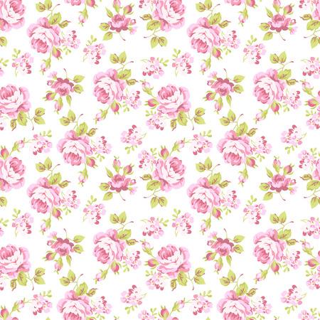 핑크 장미 부케와 원활한 플로랄 패턴