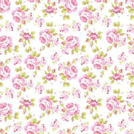 Seamless floral pattern with bouquets of pink roses