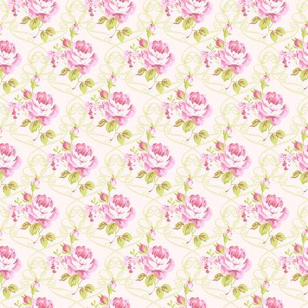 petites fleurs: Seamless floral pattern avec des petites roses roses, illustration vectorielle de style vintage. Illustration