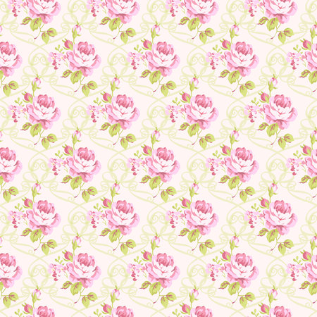 pink flowers: Seamless floral pattern with little pink roses, vector illustration in vintage style. Illustration