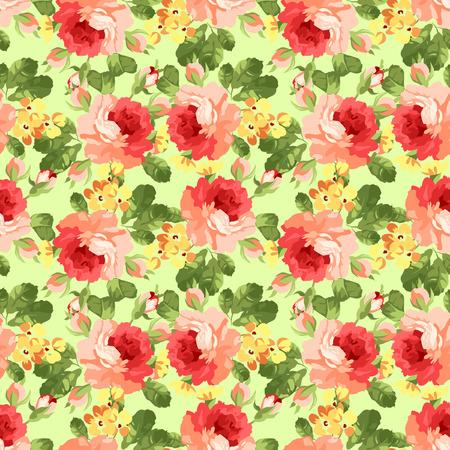rosas rojas: Sin fisuras patrón floral hermosa con la rosa. Vectores