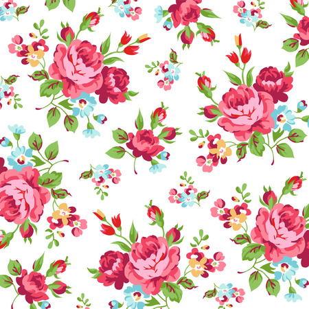 english rose: Floral pattern with red rose