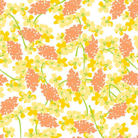 patter: Seamless floral patter with yellow orange flowers