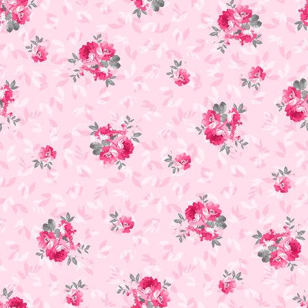 핑크 장미와 원활한 플로랄 패턴 일러스트