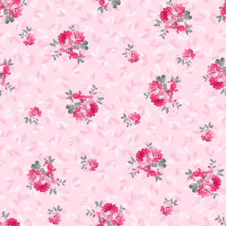 Seamless floral pattern with pink rose Illustration