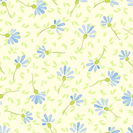 watercolor paper: Watercolor seamless pattern with cornflowers