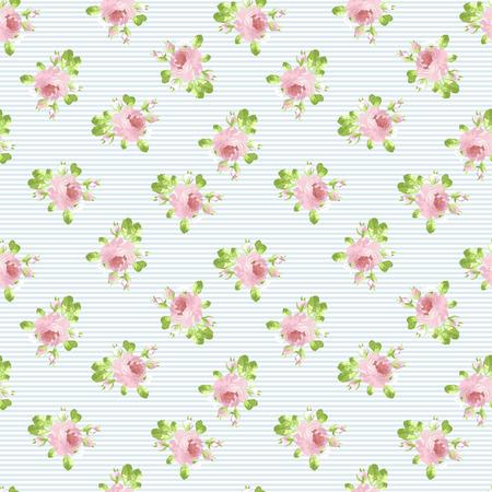 vintage paper: Seamless floral pattern with pastel pink rose.