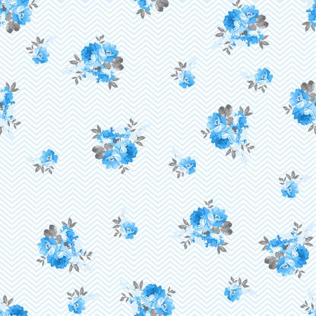 patrones de flores: estampado de flores de rosa azul, Vectores