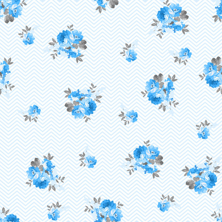winter flower: Floral pattern with blue rose,